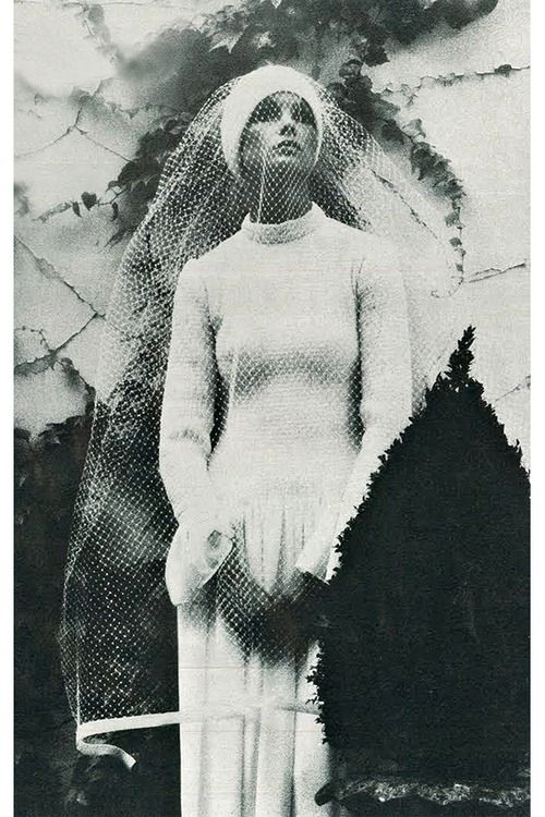 Jean Shrimpton in Balenciaga wedding dress, 1973. Photographed by David Bailey.