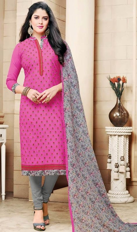Bewitch the crowd wearing this pink color chanderi cotton embroidered churidar kameez. This pretty attire is showing some wonderful embroidery done with lace and resham work.
