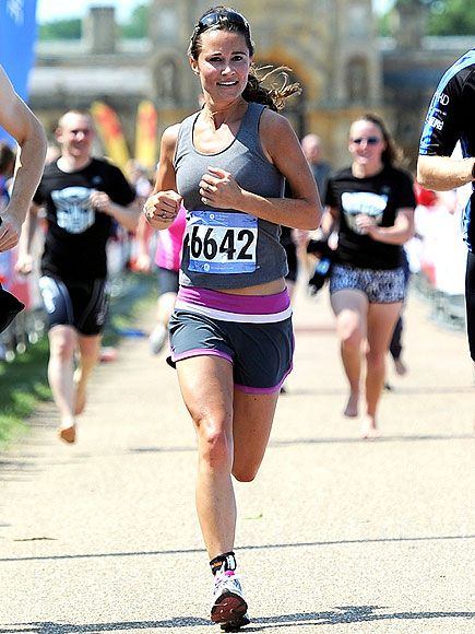 Pippa's running look is no nonsense showing her seriousness about running, but the pink details on the shorts keep it feminine and girly!