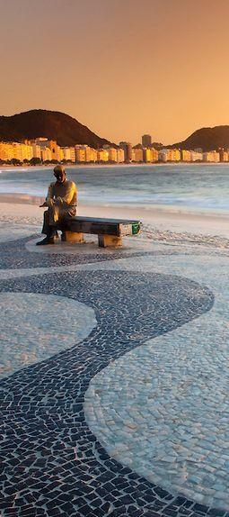 Statue of Carlos Drummond de Andrade in Copacabana. Rio de Janeiro (Brazil).