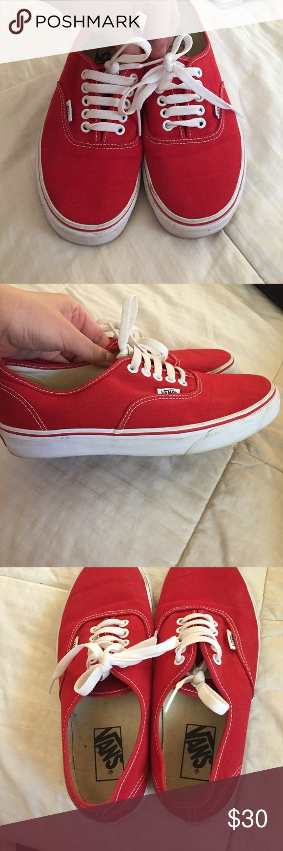 Vans Authentic Red Skate Shoes red Vans. used but not in bad condition at all. white bottom rim will be washed before shipping out! Vans Shoes Sneakers