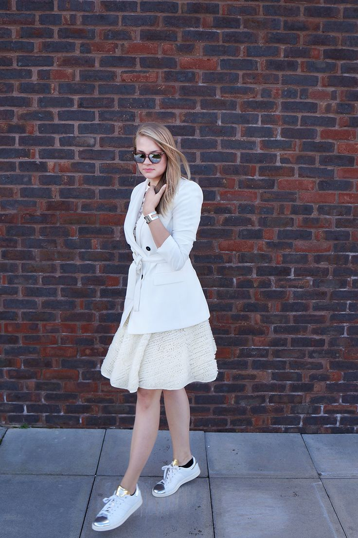 All white everything in my Zara blazer, H&M feather midi skirt, Reiss floral top, and Adidas Stan Smith trainers   comme des filles