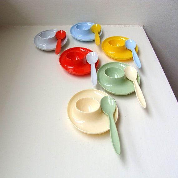 Mod Atomic Egg Cups & Spoons from VintageModernAndMore (sold)