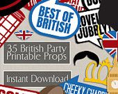 35 British Photo Booth Props, British themed party props, i love london party, best of british photobooth sign, british flag, english props