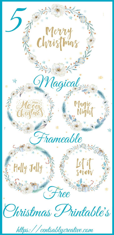 5 Blue Gold Christmas Wreath Frameable Home Decor Free Printable's