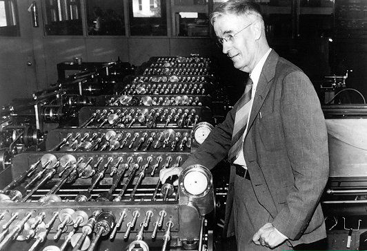 Vannevar Bush (1890–1974) with his differential analyzer    Bush joined MIT at age 29 as an electrical engineering professor and led the design of the differential analyzer. During World War II, he chaired the National Defense Research Committee and advised President Franklin D. Roosevelt on scientific matters.