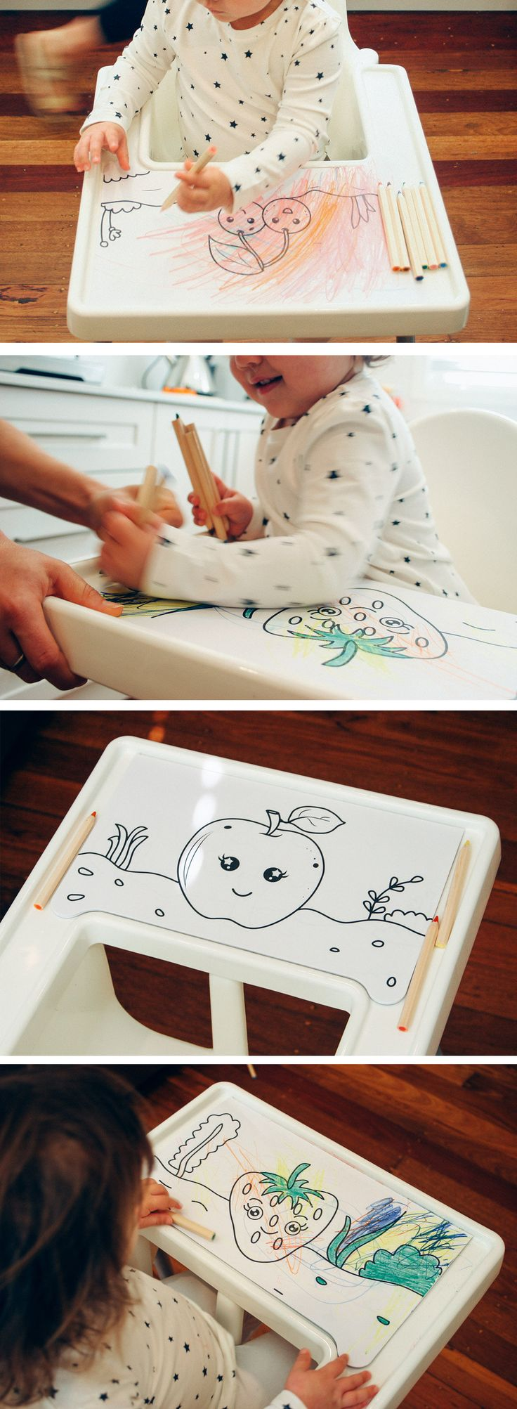 Hushpad is a coloring Pad for Ikea Antilop Highchair, Colouring Pad for Ikea Antilop Highchair, Ikea Hack - Genius design! Awesome product! Perfect Christmas present for a toddler mom or parent. Australian design via Etsy.