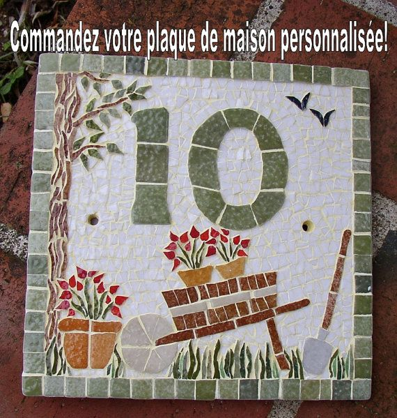 I make your house number plate with mosaic. I by MAKOSZAMosaique