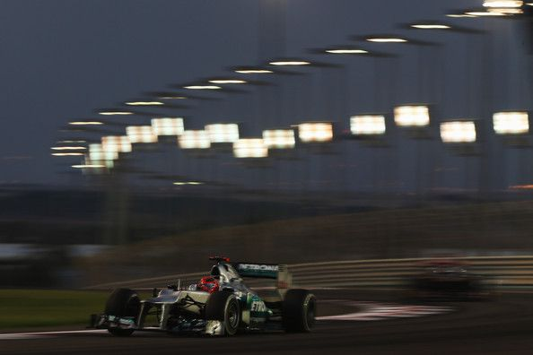 Michael Schumacher of Germany and Mercedes GP drives during the Abu Dhabi Formula One Grand Prix