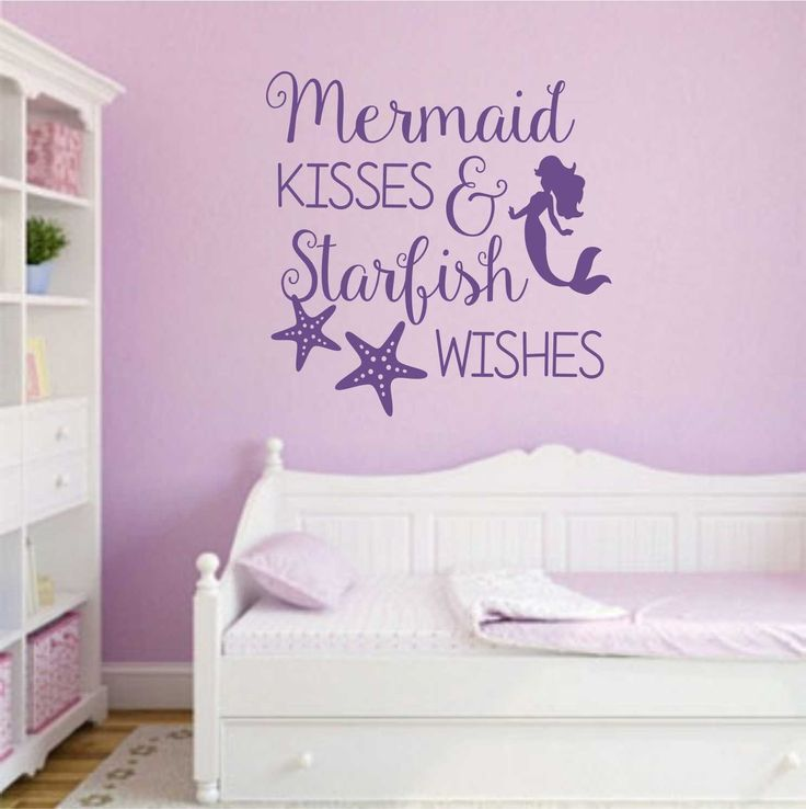 "Self-adhesive Vinyl Wall Lettering *Overall size 22"" w x 22"" h Mermaid Kisses and Starfish Wishes CHOOSE YOUR COLOR FROM DROP DOWN MENU *For Color reference please see second picture for our chart. As"