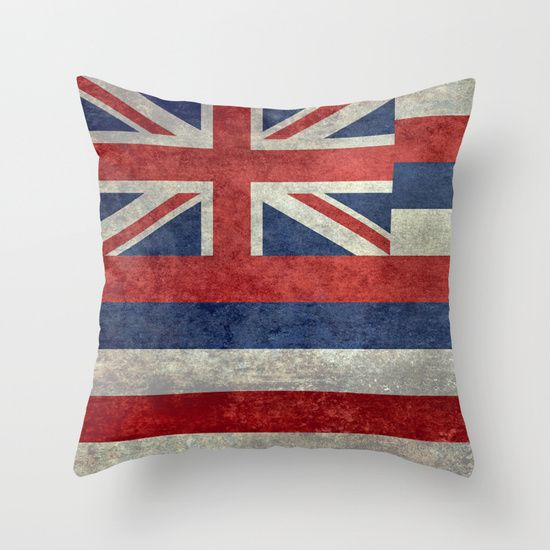 The State flag of Hawaii - Vintage version Throw Pillow #Hawaii #flag #Hawaiianflag #vintage #retro