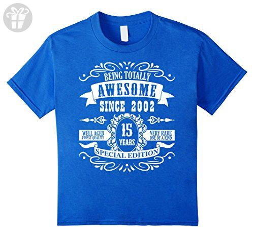 Kids 15 th Birthday Gift T-Shirt Awesome Since 2002 Tee 15 b-day 6 Royal Blue - Birthday shirts (*Amazon Partner-Link)