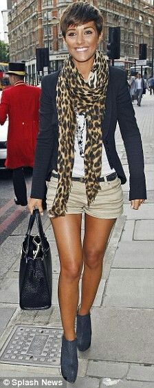 Leopard scarf, navy blazer but long pants would be nicer