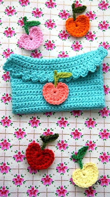 Crochet apples!: Appletr Diy, Pur Patterns, Crochet Food, Crochet Apples, Cute Stuff, Crochet Pouch, Crochet Heart, Crochet Cases, Appletre Diy