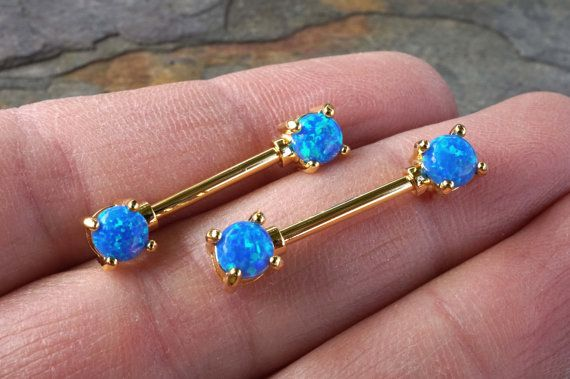 Turquoise Blue Opal Gold Nipple Bar Jewelry by MidnightsMojo