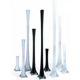"""24"""" Clear Eiffel Tower Vases, 12-Pack"""