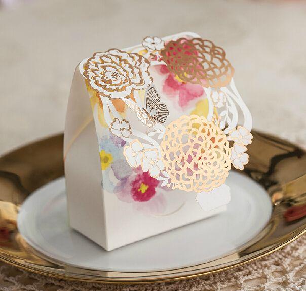 Bloem Bruiloft Bonbondoos Baby Douche Elegante Romantische Decoratie Laser Cut Event Feestartikelen Papier Gunsten En Geschenken Zak