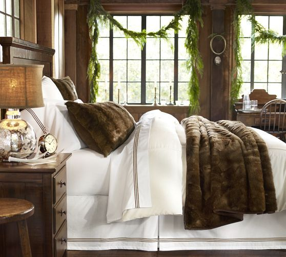 warm and cozy while still bright and clean faux fur blanket sham pottery barn winter bedroom decorchristmas - Pottery Barn Bedroom Decorating Ideas