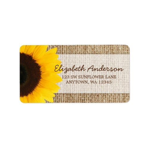 Sunflower Rustic Burlap Address Labels