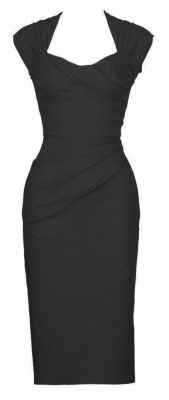 Super stretchy and very comfortable. The sexy stunner will have all eyes on you. The dress has a pleated, sweetheart neckline with small cap sleeves and a fitted skirt that hugs and accentuates your curves. The back has a large circular cut out and matching bow at the lower back. $159