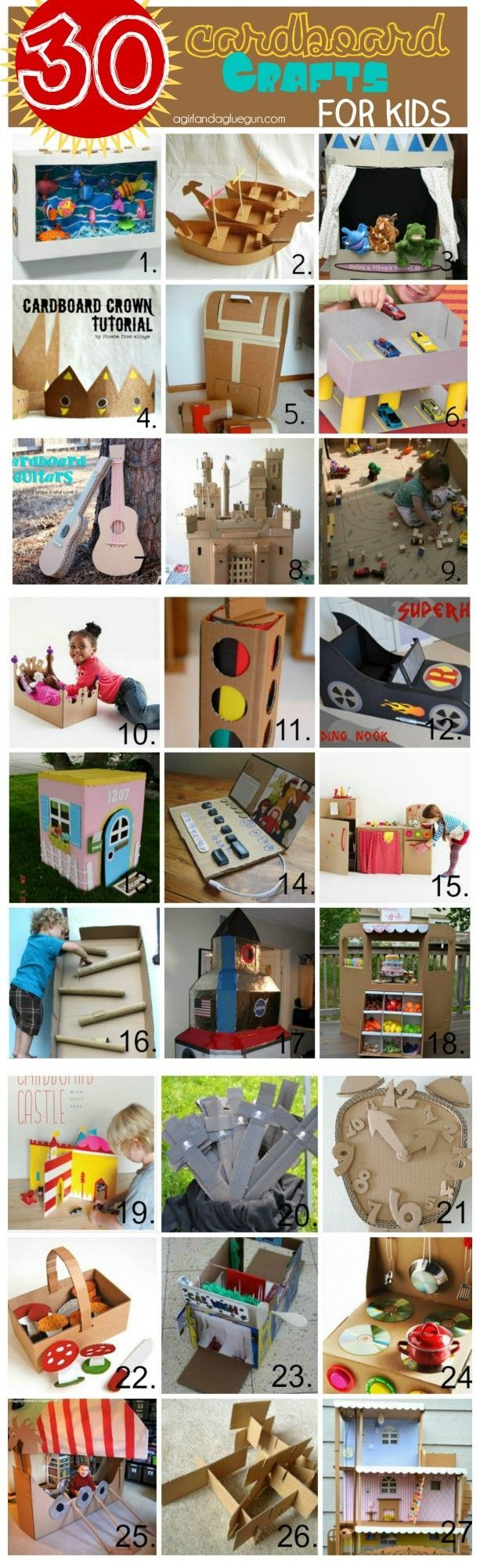 30 cardboard crafts for kids! Make a castle, boats, stop light and cars! So many fabulous ideas for summertime or rainy days! Great way to work on engineering with kids!