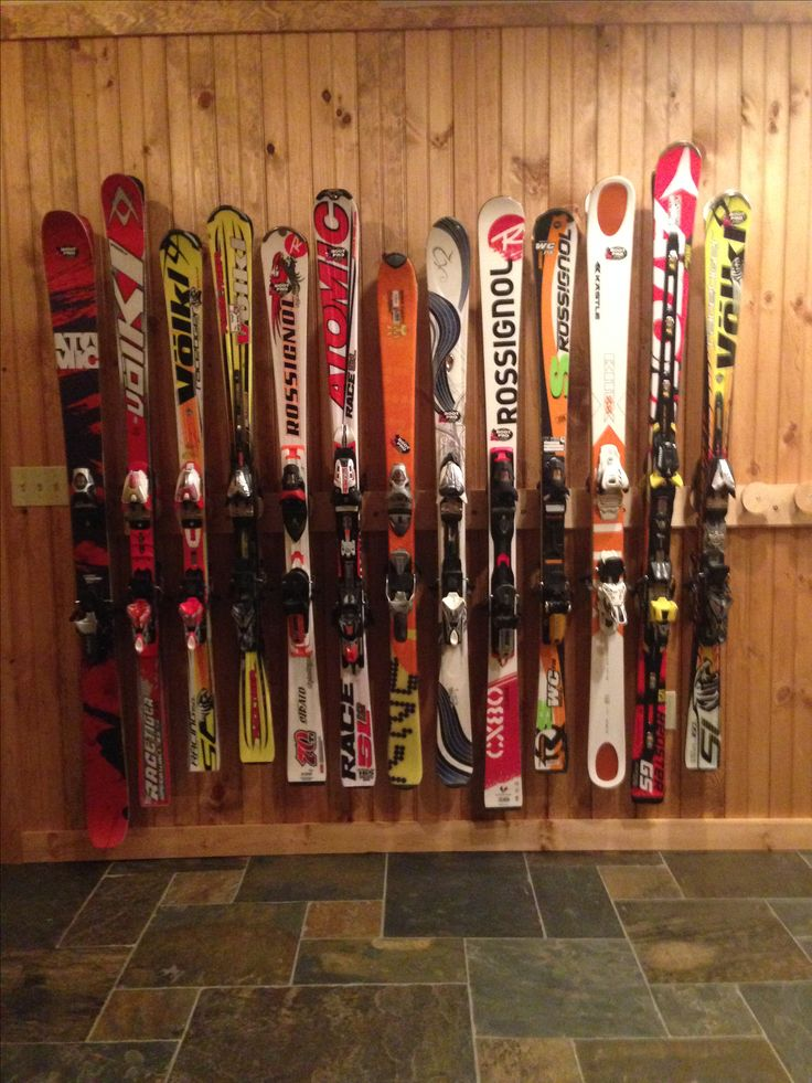 Ski Storage Rack with room for 18 pairs of skis.  See at www.buttonskirack.com