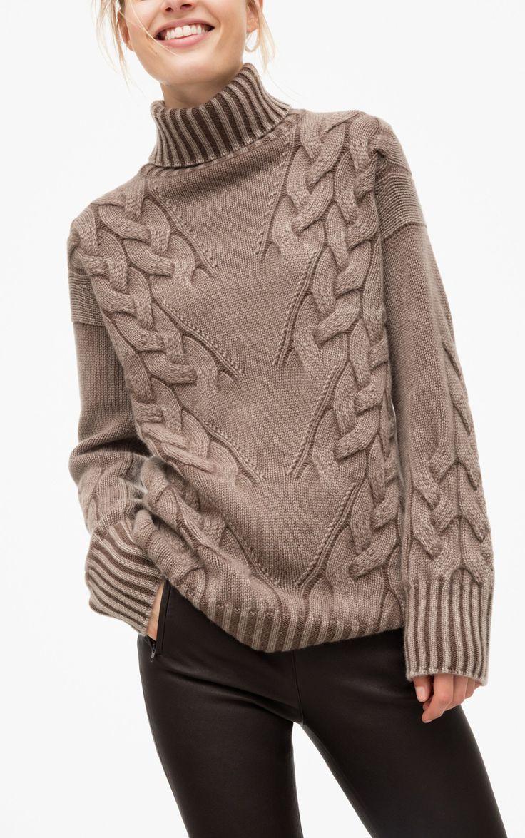 Womens Sweater Strickmuster Der Rollkragenpullover ist etwas länger und