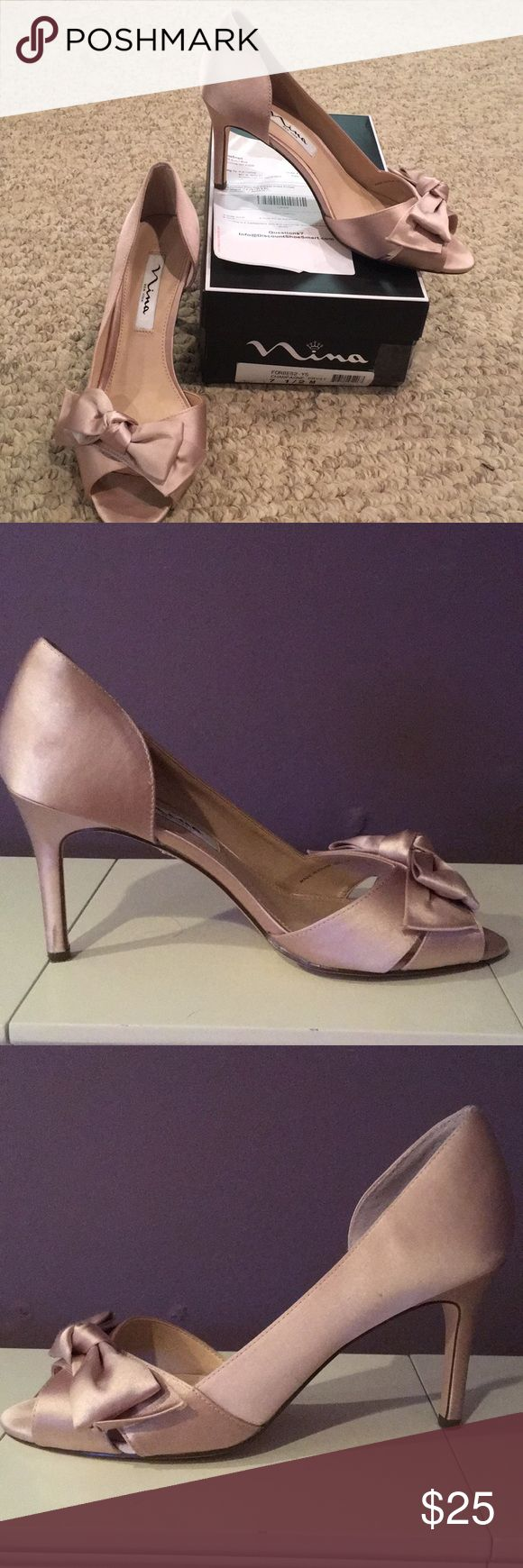 Nina Forbes 2 Champagne Pump Wore once for a wedding for about 3 hours (then put my flip flops on). Size 7.5. Champagne color. Like new condition. $85 at Nordstrom right now.   https://m.shop.nordstrom.com/s/nina-forbes-ii-peep-toe-pump-women/4785287?contextualcategoryid=2375500&origin=keywordsearch&keyword=Nina+Forbes Nina Shoes Heels