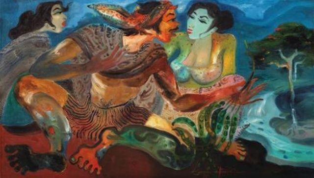 Hendra Gunawan - Penjual Petai (Petai seller) sold for USD 629,200 by Sotheby's 2013