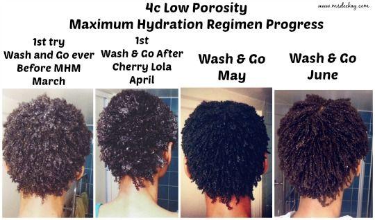 Max Hydration Regimen on Low Porosity 4c Hair June Progress Update