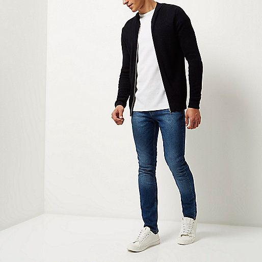 Navy textured knit bomber jacket - bomber jackets - coats / jackets - men