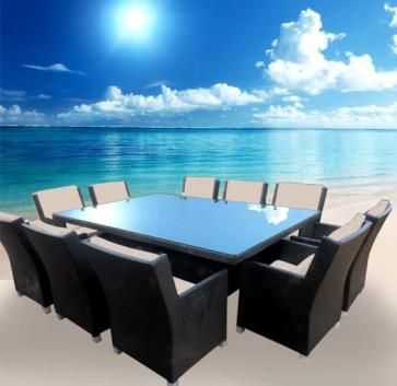 OUTDOOR DINING SETTING EXTRA LARGE 10 SEATER- RATTAN WICKER