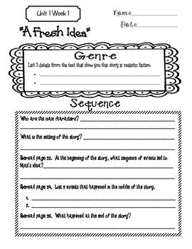This handout is based on the 5th grade Wonders McGraw-Hill reading series. This is a weekly handout that I like to use when teaching the short story in the Reading/Writing Workshop book. It provides guidance as I am teaching the skills and my students are doing a close reading.