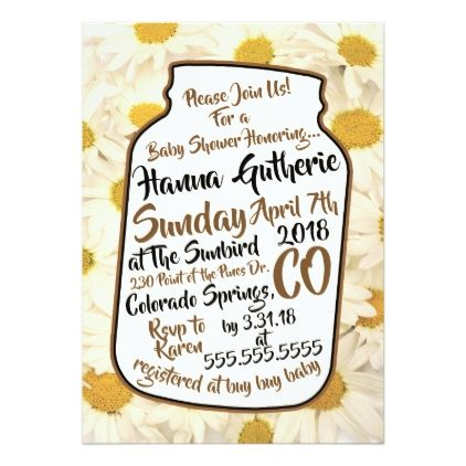 Daisy Baby Shower Invitation - rustic gifts ideas customize personalize