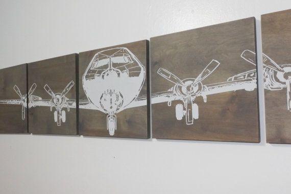 Military AIRPLANE Art 12X 60 Vintage WW2 Plane by CedarWorkshop