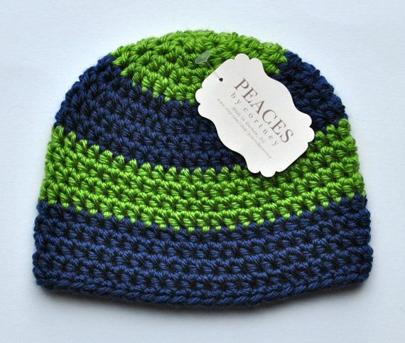 Green & Blue Baby Beanie Hat Baby by Peaces by Cortney