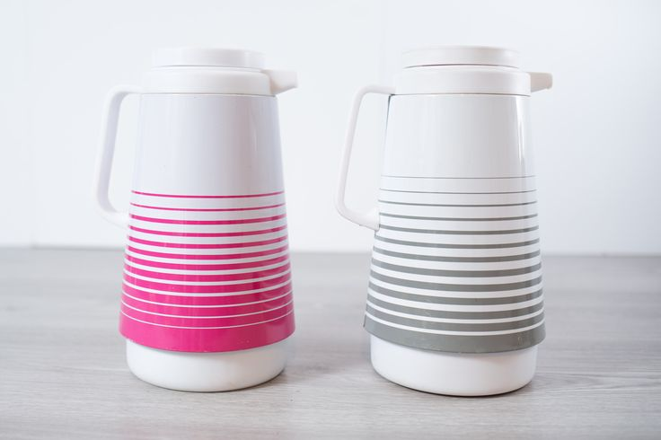Vintage Striped Thermos Pitcher / 1960's Mod Banded Hot Pink and Grey and White Glass lined Camping Insulated Thermos Pitcher Carafe by secondvoyagevintage on Etsy https://www.etsy.com/ca/listing/529441168/vintage-striped-thermos-pitcher-1960s