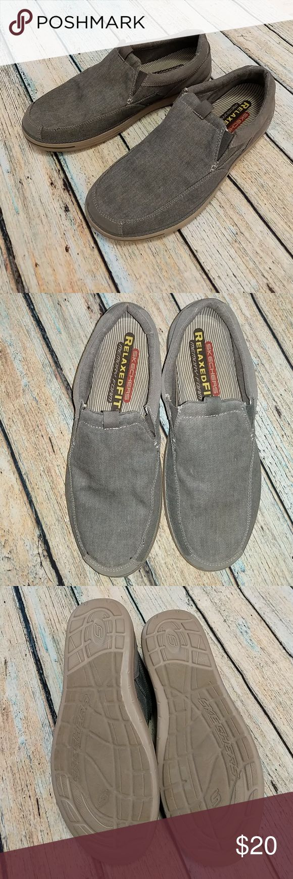 ⭐Men's memery foam skechers Excellent condition, never worn. Sketchers relaxed fit memery foam slip on sneaker Great shoe for warmer weather. Canvas material w/ suede heel Skechers Shoes Loafers & Slip-Ons