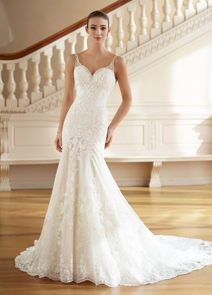 Beautiful Martin Thornburg Minnie Deep scoop back sleeveless lace wedding dress Tulle and Schiffli