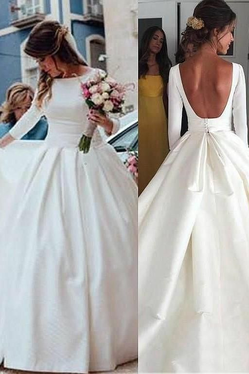 Prom Dress Classy, Classic A Line Long Sleeves Backless Satin Long Wedding Dresses 2020