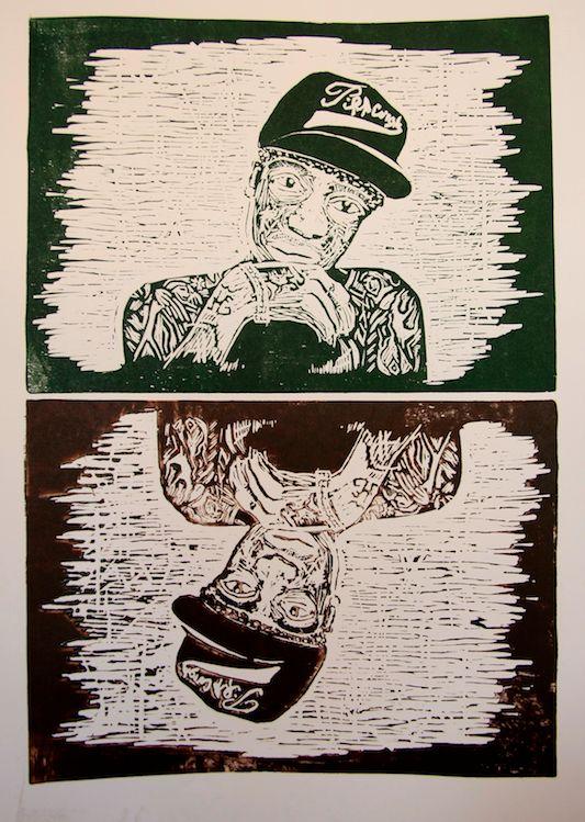 Wiz Khalifa - linocut 2013