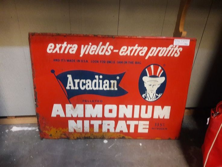 Vintage ARCADIAN AMMONIUM NITRATE Fertilizer SIGN - Advertising Farm Tool #ARCADIAN