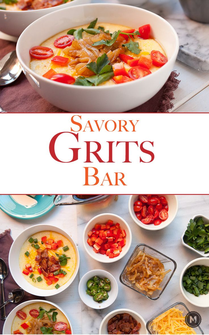 Savory Grits Bar: This is my favorite brunch for a crowd. Make a big batch of grits and set out a spread of delicious toppings! Guests can make their own bowls and the varieties are endless. Check out the comments for reader suggestions!