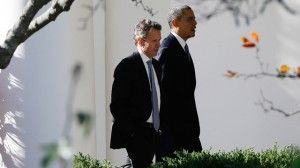 """Timothy Geithner, now president of private-equity firm Warburg Pincus, walks with President Obama. """"The Dow today sits plus or minus 17,000, right? Record highs. Banks' profits are up; the big banks are bigger than they were during the financial crisis; their appetite for risk is growing, as we've seen; and all of this is happening after Dodd-Frank – the financial reform bill that we were told was going to prevent all these things from happening. It was going to rein in the banking system."""""""