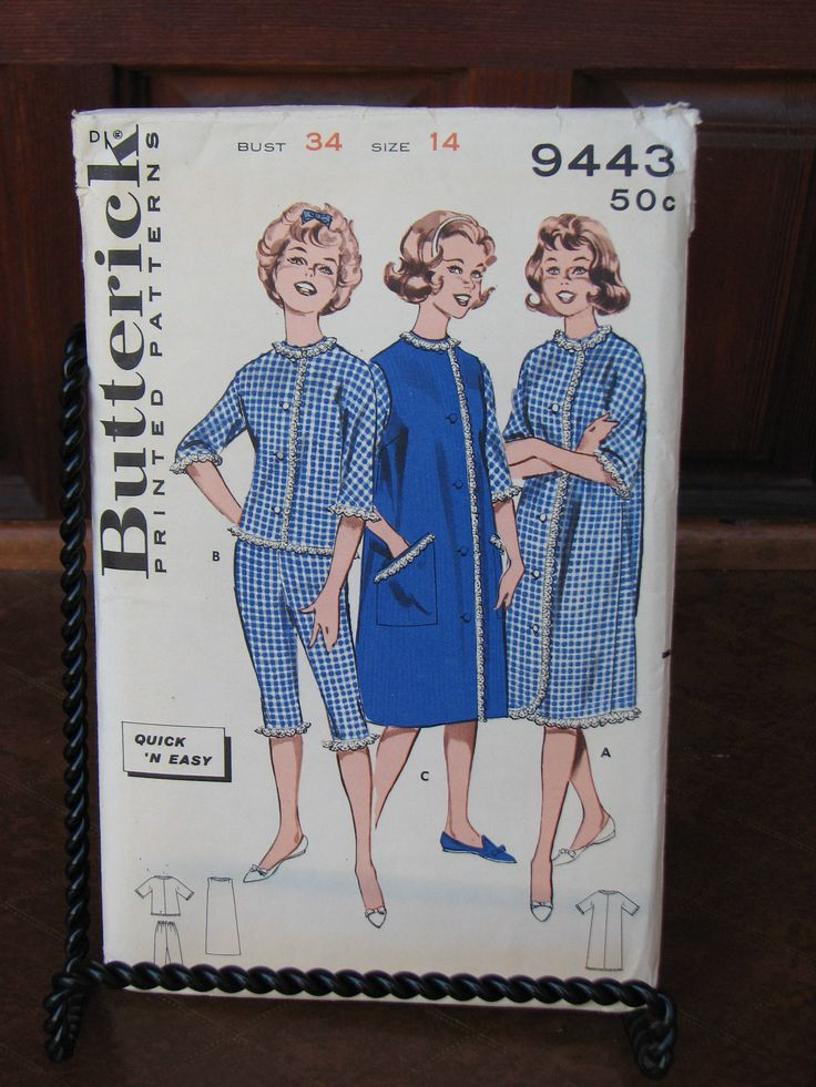 Vintage Butterick 9443 uncut pattern, Ladies Pajama and Robe sewing pattern, 1960s Pajamas and Bath Robe, Mad Men Pajama Set Sewing Pattern by AngelsVintageDreams on Etsy