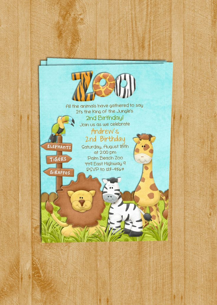 61 best zzz2 yrs zooanimal party images on pinterest birthdays zoo birthday invitation jungle animals custom and printable 1600 via etsy zoo animal partyinvitation wordinginvitation stopboris Images