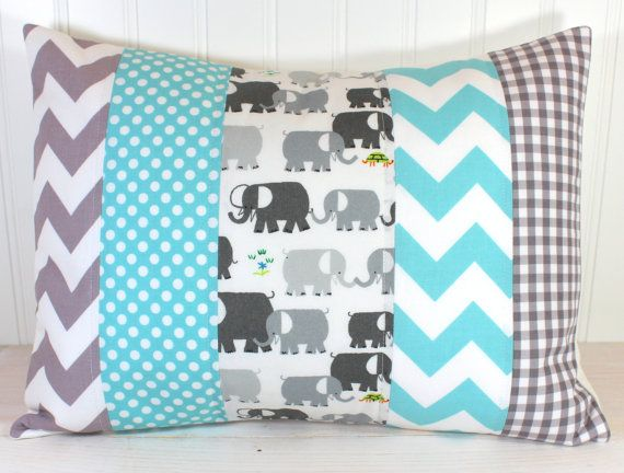 Pillow Cover, Unisex Nursery Decor, Boy or Girl Room, Throw, 12 x 16 Inches, Nursery Pillow Cover, Elephants Gray Aqua Blue Chevron Gingham via Etsy