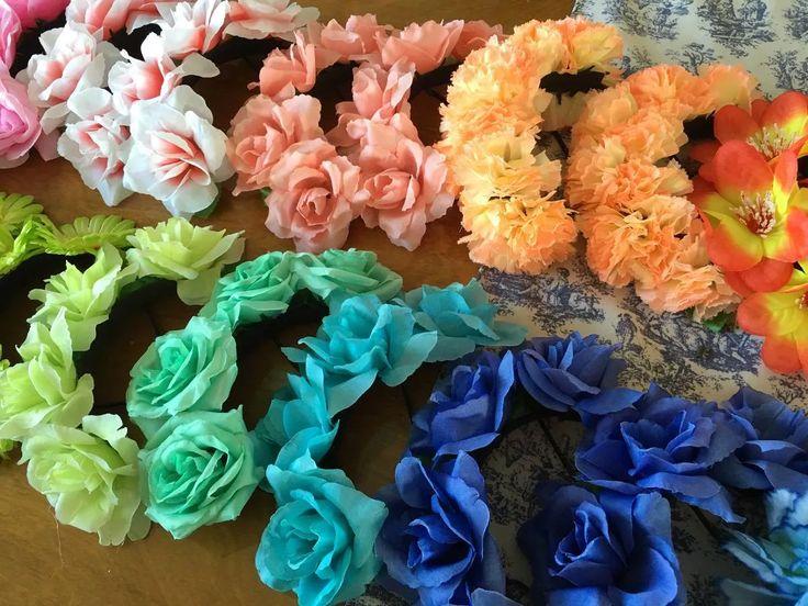 divinas vinchas con flores x 30 unidades