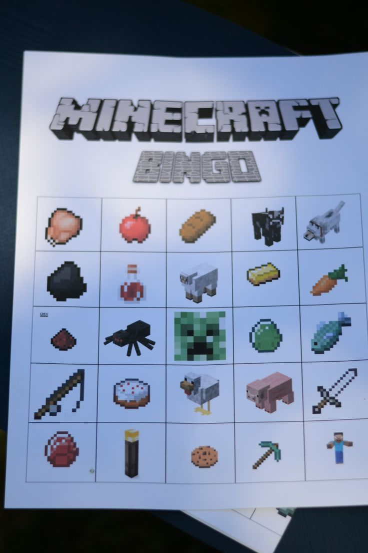 Minecraft Bingo - Birthday Party Game