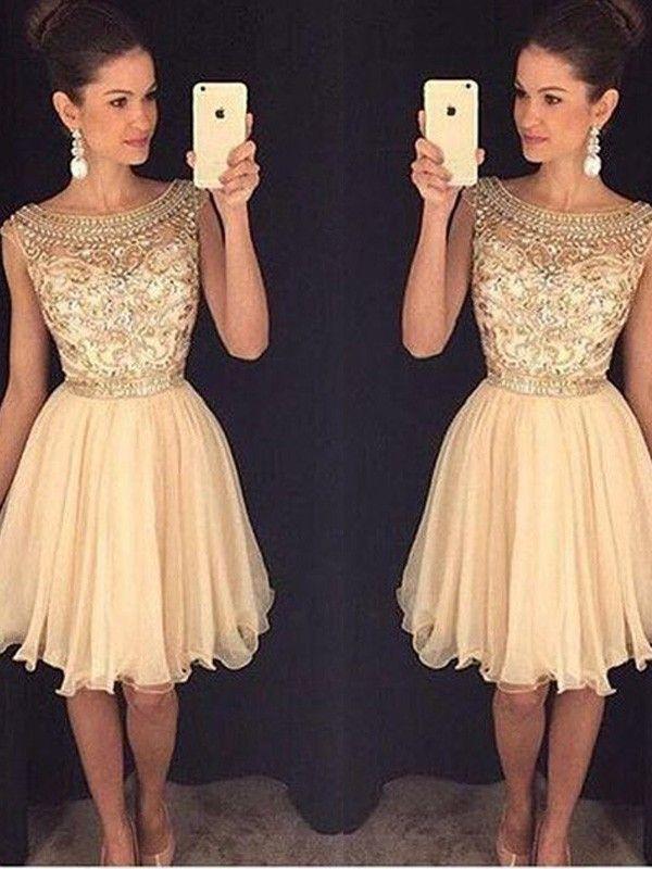 60e3862b7b1 2019 的 Stylish A-Line Princess Sleeveless Short Mini Scoop Beading Chiffon  Dresses 主题